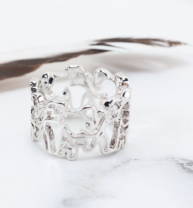 White Gold Plated Dumbo Outline Ring from Disney by Couture Kingdom