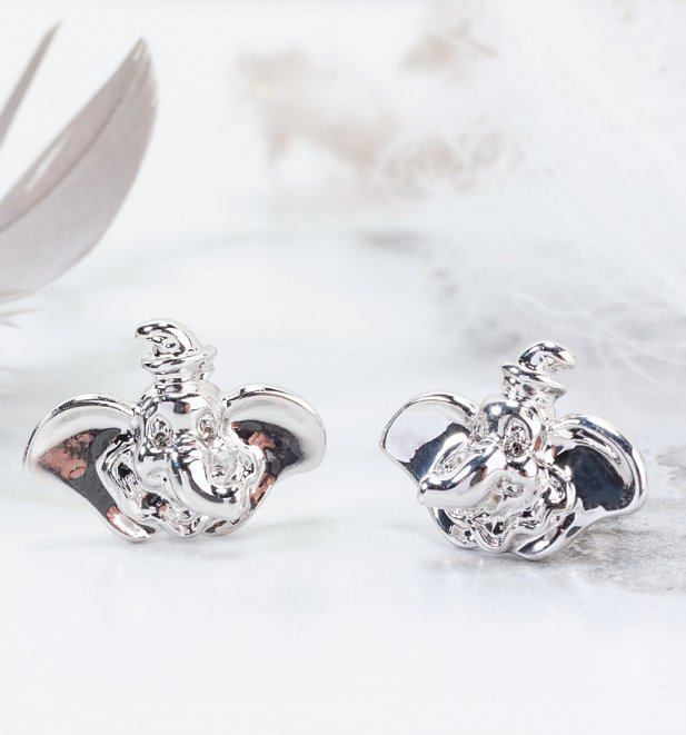 White Gold Plated Dumbo Stud Earrings from Disney by Couture Kingdom