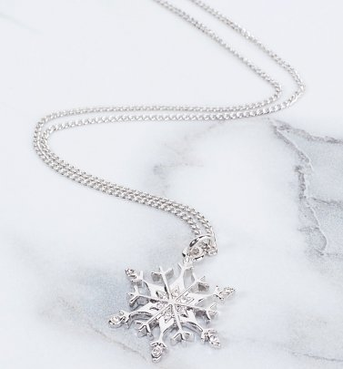 White Gold Plated Frozen Snowflake Necklace from Disney by Couture Kingdom