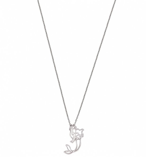 White Gold Plated Little Mermaid Ariel Outline Necklace from Disney by Couture Kingdom