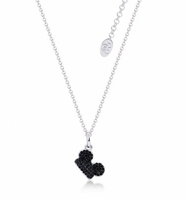 White Gold Plated Mickey Mouse Black Crystal Ears Necklace from Disney by Couture Kingdom