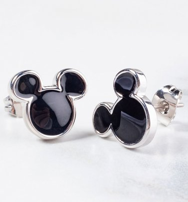 White Gold Plated Mickey Mouse Black Enamel Stud Earrings
