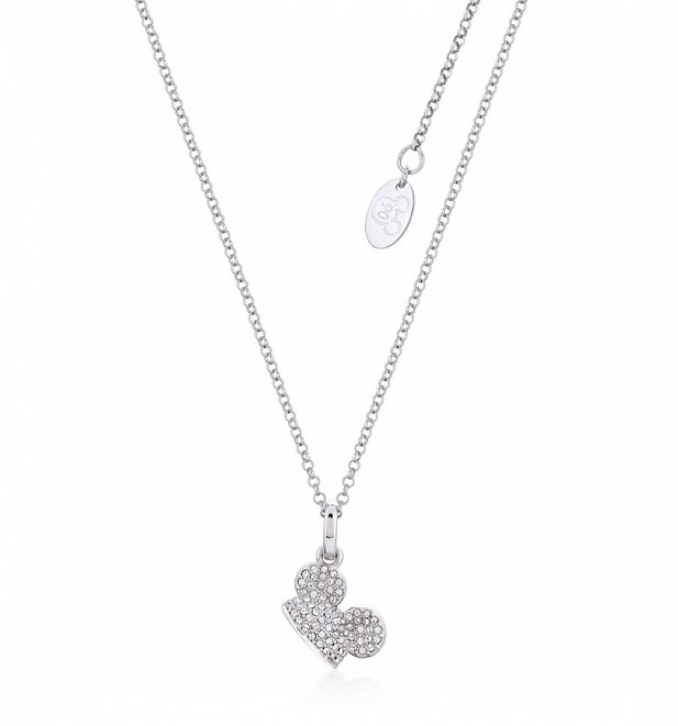 White Gold Plated Mickey Mouse Clear Crystal Ears Necklace from Disney by Couture Kingdom