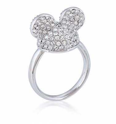 White Gold Plated Mickey Mouse Clear Crystal Ears Ring from Disney by Couture Kingdom