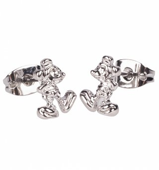 White Gold Plated Mickey Mouse Figure Stud Earrings from Disney Couture