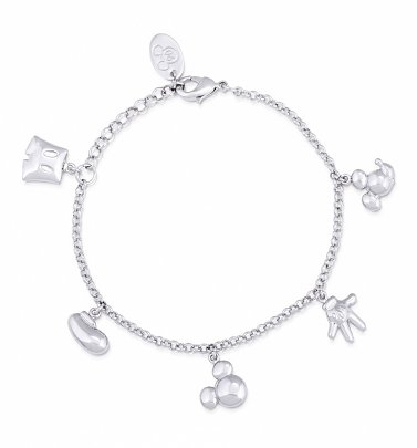 White Gold Plated Mickey Mouse Icons Charm Bracelet from Disney by Couture Kingdom