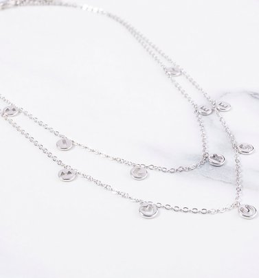 White Gold Plated Mickey Mouse Two Layer Necklace from Disney by Couture Kingdom