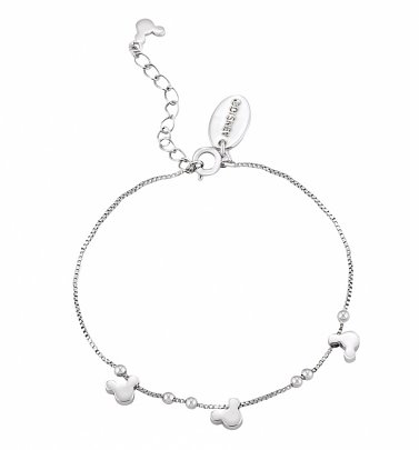White Gold Plated Minnie Mouse Heads Charm Bracelet from Disney Couture