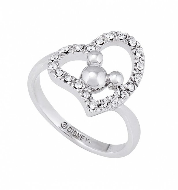 White Gold Plated Minnie Mouse Heart Ring from Disney Couture