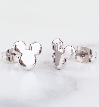 White Gold Plated Small Mickey Mouse Silhouette Stud Earrings