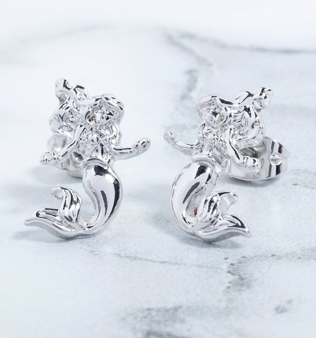 White Gold Plated The Little Mermaid Ariel Stud Earrings