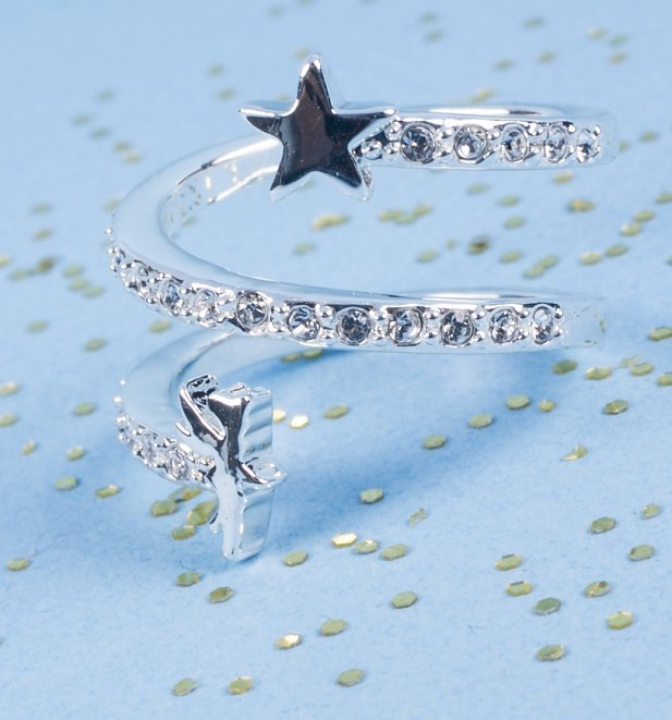 White Gold Plated Tinker Bell Stars And Crystals Ring from Disney Couture