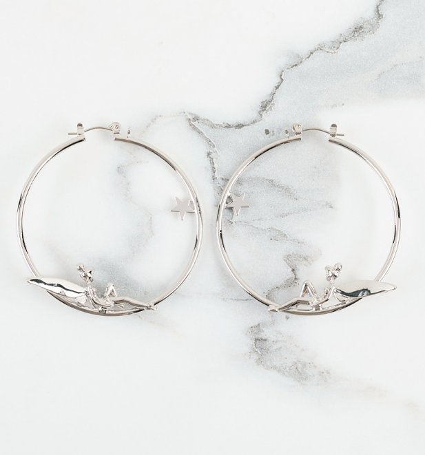 White Gold Plated Tinkerbell Fairy Hoop Earrings