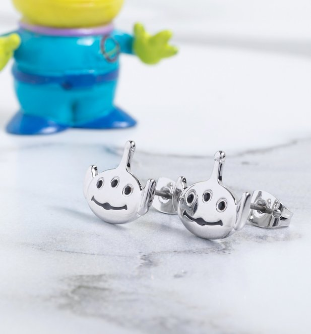 White Gold Plated Toy Story Alien Stud Earrings