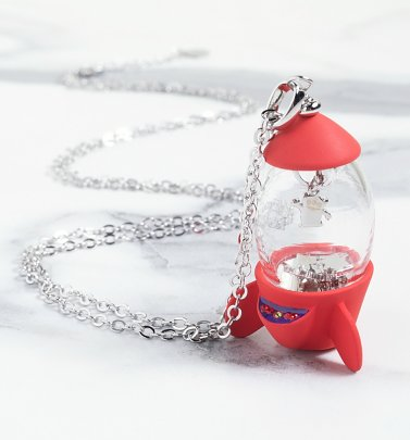 White Gold Plated Toy Story Pizza Planet Rocket Necklace