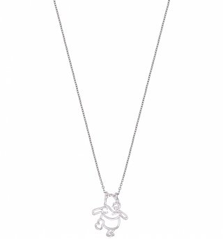 White Gold Plated Winnie The Pooh Outline Necklace from Disney Couture