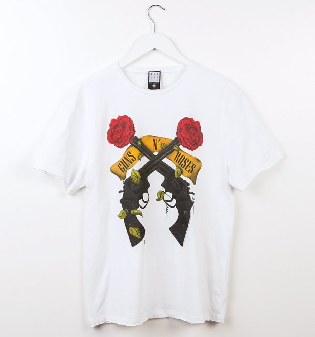 White Guns N' Roses Shooting Roses T-Shirt from Amplified