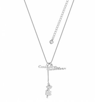White Gold Plated Alice In Wonderland Curiouser And Curiouser Necklace from Disney Couture