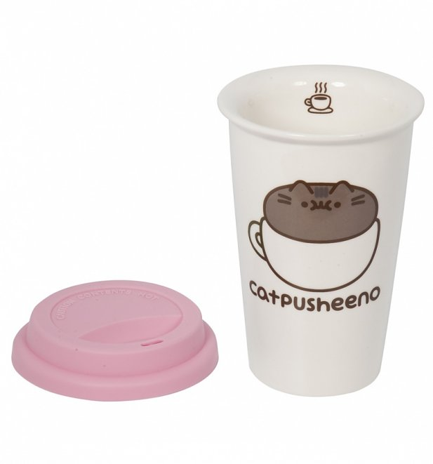 White Pusheen Catpusheeno Ceramic Travel Mug