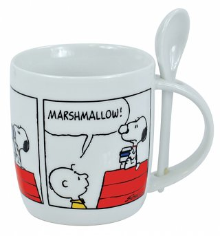 White Snoopy Peanuts Mug With Spoon