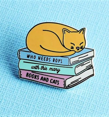 Who Needs Boys With This Many Books And Cats Enamel Pin from Punky Pins