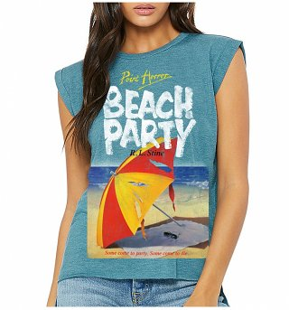Women's Point Horror Beach Party Heather Teal Flowy T-Shirt