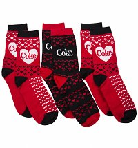 Women's 3pk Red and Black Coke Socks Gift Set