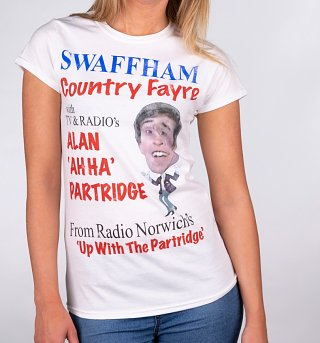 Women's Alan Partridge Swaffham Country Fayre White T-Shirt