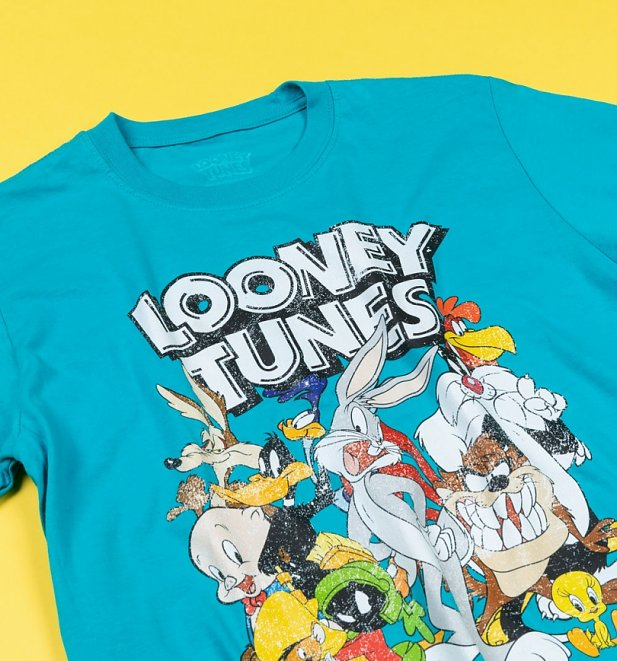 Women's Aqua Looney Tunes That's All Folks T-Shirt with Back Print