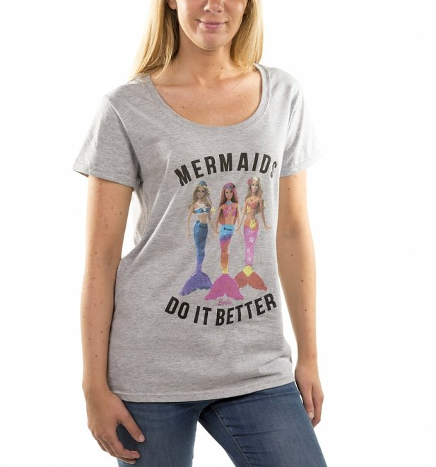 Women's Barbie Mermaids Do It Better Grey Scoop Neck T-Shirt