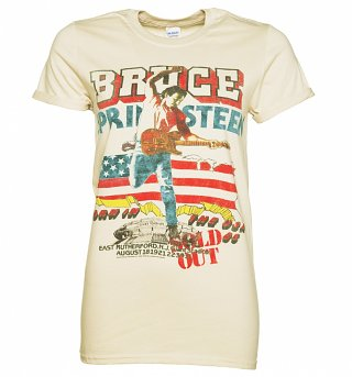 Women's Beige Bruce Springsteen Tour Rolled Sleeve Boyfriend T-Shirt