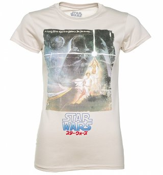Women's Beige Star Wars A New Hope Japanese Movie Poster T-Shirt