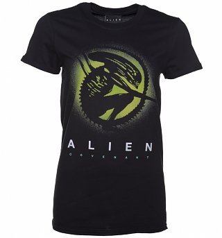 Women's Black Alien Covenant Xeno Silhouette Boyfriend T-Shirt
