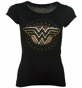 Women's Black DC Comics Wonder Woman Logo T-Shirt With Studs