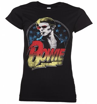Women's Black David Bowie Smoking T-Shirt
