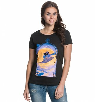 Women's Black Disney Aladdin Magic Carpet T-Shirt