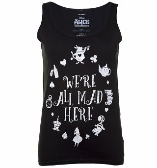 Women's Black Disney Alice In Wonderland We're All Mad Here Vest