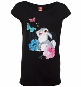 Women's Black Disney Bambi Thumper Slouchy T-Shirt