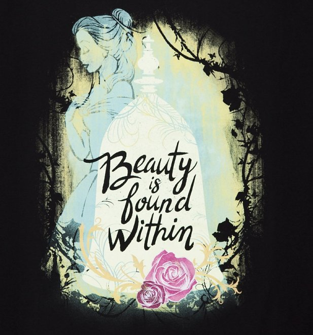 Women's Black Disney Beauty & The Beast Beauty Is Found Within Slouchy T-Shirt
