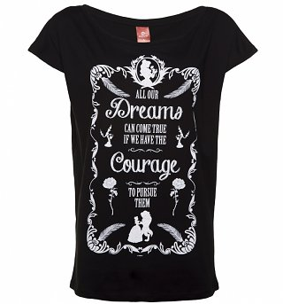 Women's Black Disney Beauty & The Beast Dreams Slouchy T-Shirt