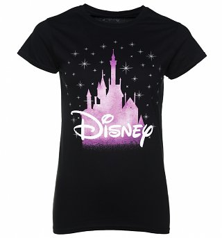 Women's Black Disney Castle T-Shirt