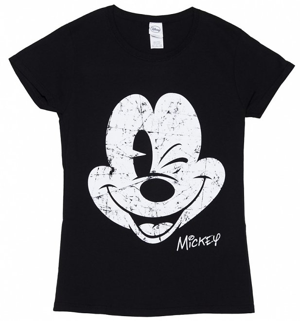Women's Black Disney Mickey Mouse Vintage Cracked Print T-Shirt