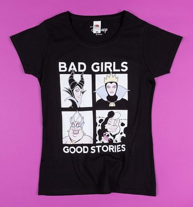 Women's Black Disney Villains Bad Girls Fitted T-Shirt