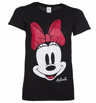 Women's Black Disney Vintage Distressed Minnie Mouse T-Shirt