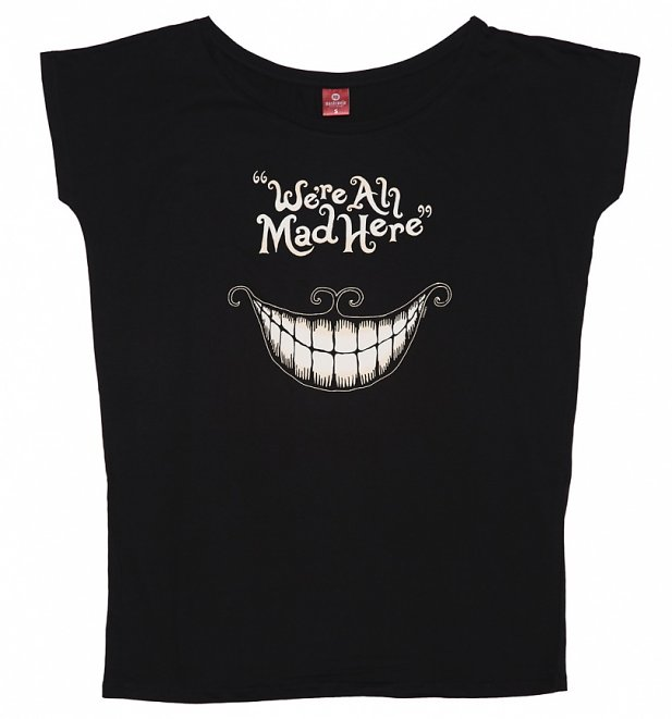 Women's Black Disney We're All Mad Here Slouchy T-Shirt