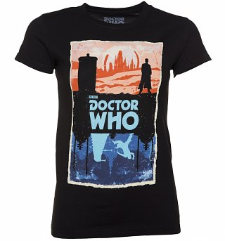 Women's Black Doctor Who Gallifrey And Skaro T-Shirt