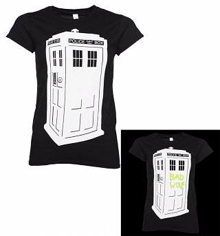 Women's Black Doctor Who TARDIS Glow In The Dark T-Shirt