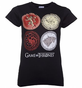 Women's Black Game Of Thrones House Crests T-Shirt