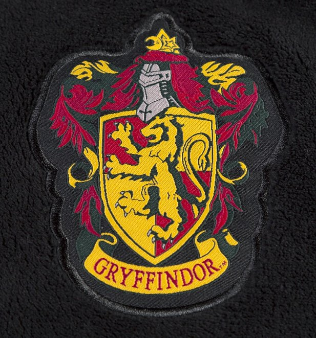 Women's Black Harry Potter Gryffindor Crest Hooded Dressing Gown