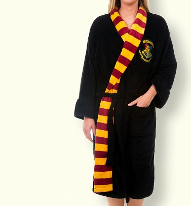 Women's Black Harry Potter Hogwarts Dressing Gown